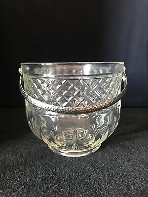Vintage CLEAR  CRYSTAL GLASS ICE BUCKET Silver Toned Handle, Diamond Pattern C