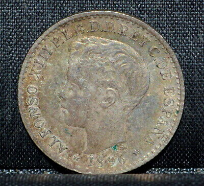 1896 Puerto Rico 10 Centavos ✪ Au Almost Uncirculated ✪ Original L@@K ◢Trusted◣