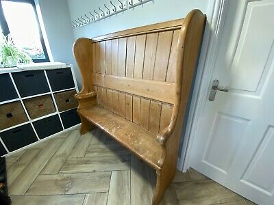 Antique Pine 18thC settle bench church pew boot room hallway storage wooden seat