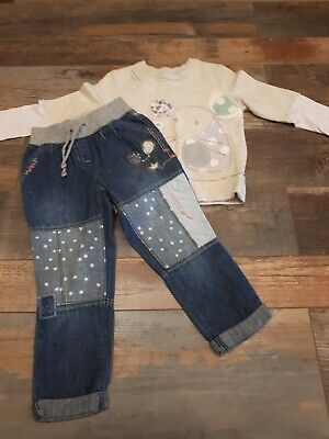 Girls Next Jumpet Jeans Outfit Mouse 2-3 years Immaculate