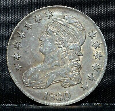1830 Capped Bust Half Dollar ✪ Au Almost Uncirculated ✪ 50C Silver S4 ◢Trusted◣