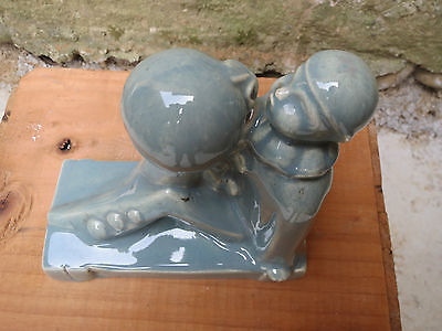 Antique Figure in Earth Glazed Pierrot French Antique