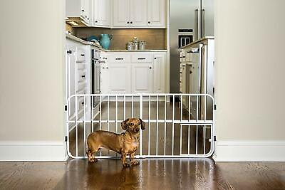 Pet Gate with Door Small Cats Dogs Expandable Step Over Adjustable Movable New