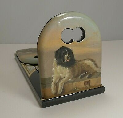 Pristine Hand Painted Book Slide / Bookends - Dog, After Sir Edwin Henry Landsee