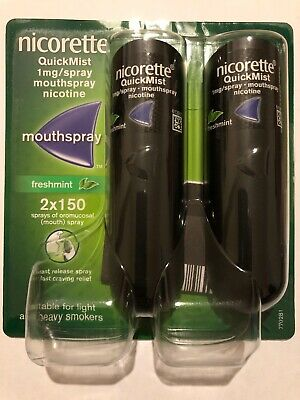 Nicorette Quickmist Duo Mouth Spray Fresh mint 2x150, New in Original Boxing