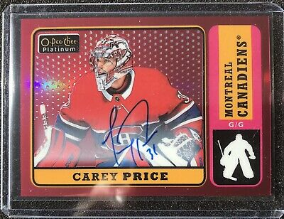 Carey Price 2018-19 O-Pee-Chee Platinum Retro Red Rainbow Autographs R-10 Auto