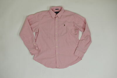 Men's Ralph Lauren Button Down/ Button Up Regular 14 Boys Pink Solid Long Sleeve