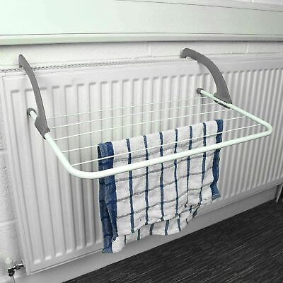 5 Rail Bar Radiator Airer Towel Clothes Folding Dryer Rack Holder 3m Space