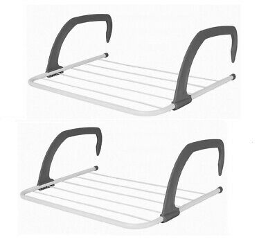 2 x  5 Rail Bar Radiator Airer Towel Clothes Folding Dryer Rack Holder 3m Space