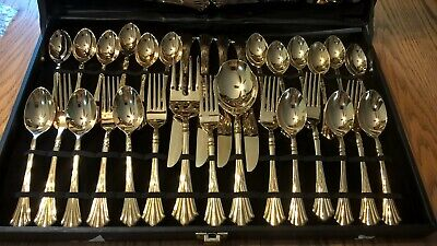 """WM Rogers & Son Gold Plated Silverware 62 pcs  *USED ONCE"""""""