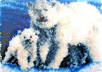 "Latch Hook Polar Bear  Rug Canvas Kit ""Arctic Family"""