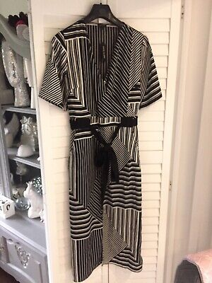 RIVER ISLAND Dress BRAND NEW WITH TAGS Asymmetric Hem Black and White Size 16
