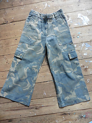 BHS Trousers Age 6 Green Camouflage 100% Cotton Cargo Style Excellent Condition.