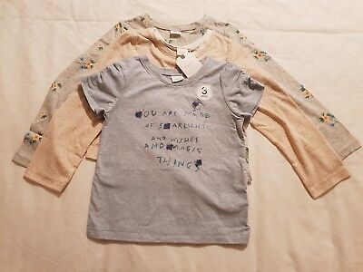 NEW Girl 3 Pack Long Sleeves Tops & T-Shirt Tee NEXT age 4-5 years BNWT