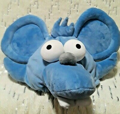 The Simpsons Itchy & Scratchy Mouse Plush Blue Hat Universal Studios Size Adult