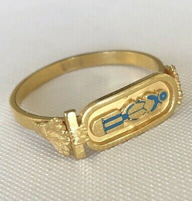 18K Hand made Egyptian king TUT Cartouch with hard Enamel Gold  Ring Size 9