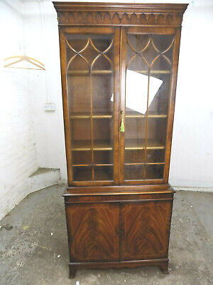 slim,small,antique,repro,georgian,style,glazed,inlaid,mahogany,bookcase,cupboard