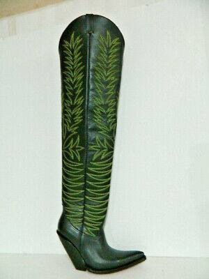 Thigh high cowboy boots 34¨ tall 5¨ extreme underslung heel mes ize 12  in stock