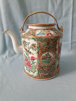 19th century Chinese porcelain Canton famille rose enamelled tea pot Qing dynast