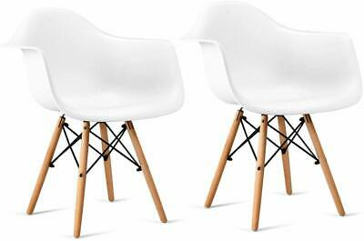 Set Of 2 White Eiffel Eames Style Shell Dining Arm Chairs  Wood Legs Steel Base