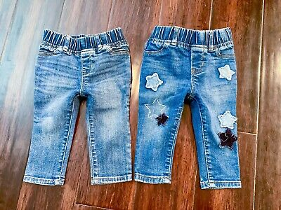 Cute Baby Girls BabyGap Size 12-18m Blue Jeans Leggings With Stars Set Of 2