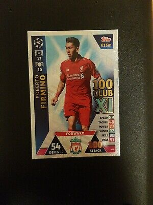 Topps Match Attax Champions League 2018/19 Firmino 100 Club Card