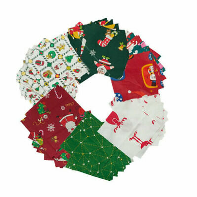 "Christmas 100% Cotton Fabric Decor Charm Pack Lot 100 x 5"" SQUARES Quilting Xmas"