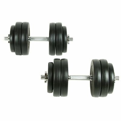 2X 15KG Dumbbell Bar Plastic Covered Gym Fitness Biceps Workout Weights Training