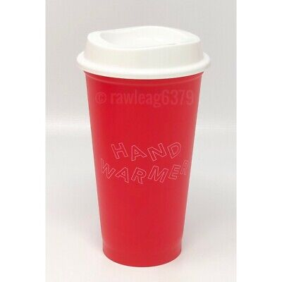 """NEW Starbucks Holiday 2019 """"Hand Warmer"""" Reusable Hot Cup Red 16 oz Winter"""