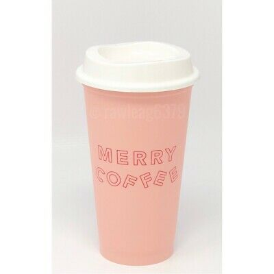 """NEW Starbucks Holiday 2019 """"Merry Coffee"""" Reusable Hot Cup Pink 16 oz Winter"""