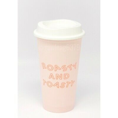"NEW Starbucks Holiday 2019 ""Roasty And Toasty"" Reusable Hot Cup Pink 16 oz"
