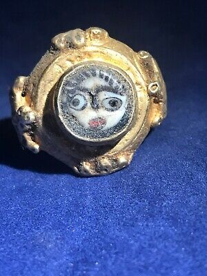 ANCIENT ROMAN GOLD ON SILVER  HIGH STATUS Glass Face RING