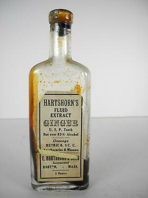 Antique Hartshorn's Fluid Extract Ginger Quack Medicine bottle with Paper Label
