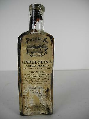 Antique Polonia Medicines- Gardlolina Quack Medicine bottle with Paper Label