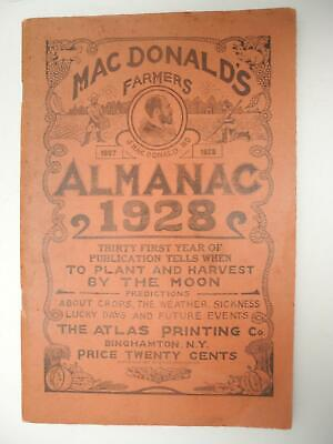 Vintage 1928 Mac Donalds Farmers Almanac with Quack Advertising ~ Atlas Printing