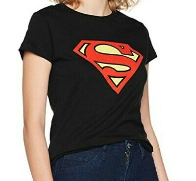 schwarz : Supergirl Logo Girlie Superman Damen T-Shirt