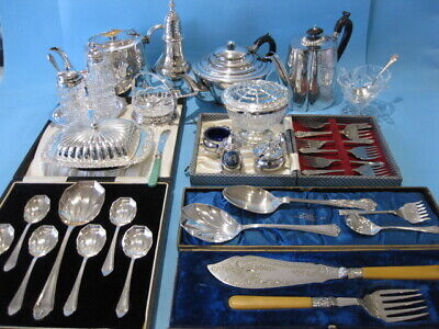 Very Nice Job Lot Ornate Antique & Vintage Silver Plated Items & Cutlery