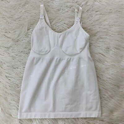Medela Size S/M White Nursing Tank Top Maternity Breastfeeding Cami Shirt Bra