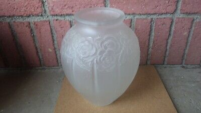 Large Czech Art Deco Frosted Art Glass Floral Paneled Crystal Vase