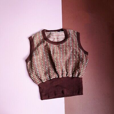 Vintage Kids Brown + Yellow Patterned Tank Top 4-6 Y, retro kids clothes