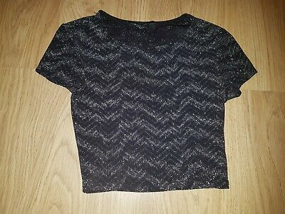 Girl's Newlook  915 Generation Black top with silver zig detail..age 10-11 years