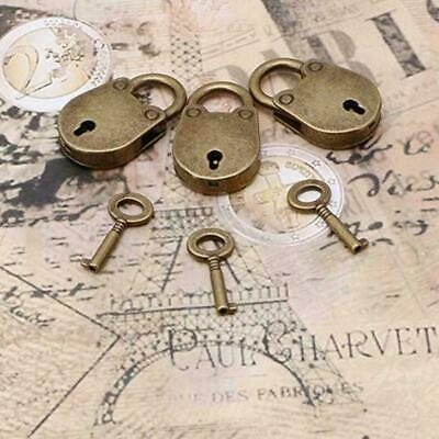 Old Vintage Antique Style Mini Small Archaize Padlocks New key With Key Loc A8K7