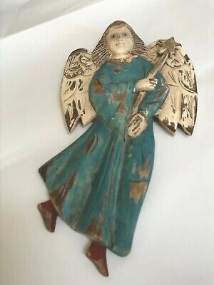 Primitive Carved Wooden Winged Angel Polychrome Folk Art Signed Santos
