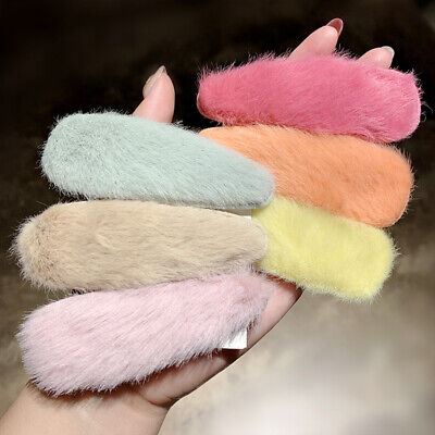 2Pcs/lot Winter Women Girls Candy Colors Faux Fur Soft Hairpins Sweet Hair Clips