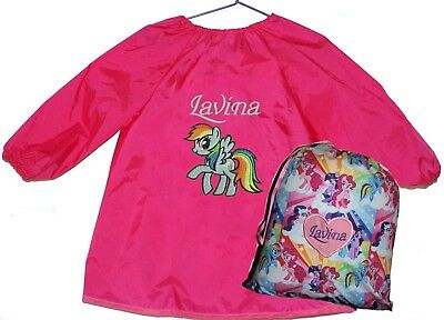Kids Personalised Art Smock  / Paint Shirt and Library Bag Set  - My Little Pony