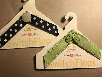 Lindsay Phillips  Switchflop Kids Straps Size Small Lime Green B/W Dots Lot of 2