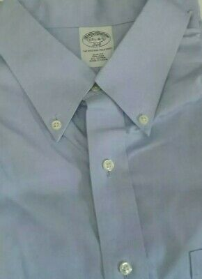 Brooks Brothers 1818 Long Sleeve Button Down Solid Blue Mens Shirt 17 1/2 - 4/5