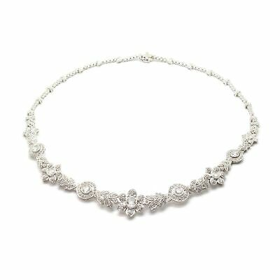 Huge Statement Piece! 6.48cts VS Diamond Necklace, Vintage Estate 18K White Gold