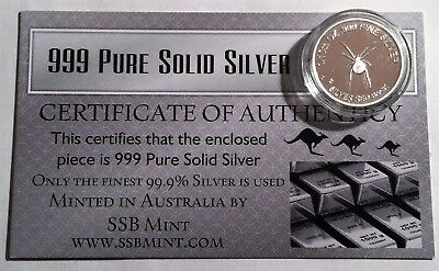 Red Back Spider 1/10th Oz 99.9% Pure Solid Silver Coin,14 to Collect C.O.A.