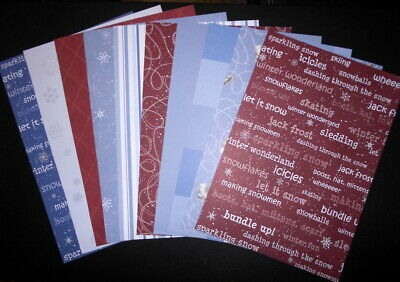 A4 Papers  x 10 ~ WINTER WONDERLAND - WHITE CHRISTMAS ~ Scrapbooking/Cardmaking